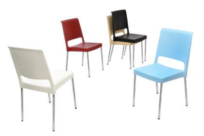 silla plastica de colectividad colores estructura cromo bogota colombia