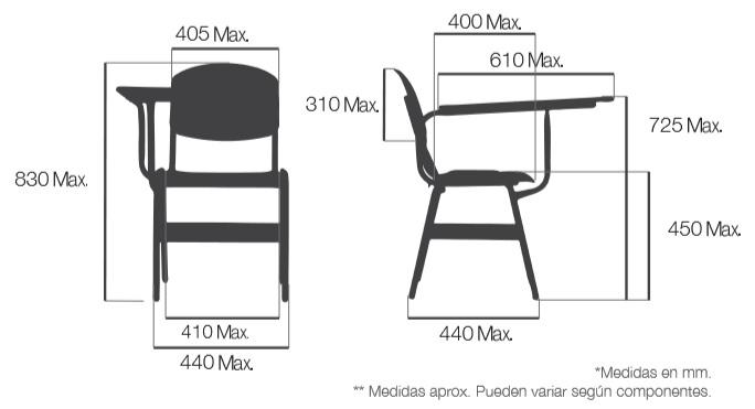 sillas universitarias con cumplimiento de norma