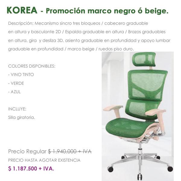 sillas ergonómicas en promoción, cundimanarca Bogotá Colombia